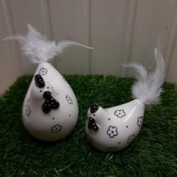 Huhn mit Federn 8 und 11 cm